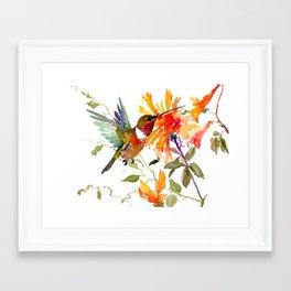 Hummingbird and Orange Floral Design, tropical Hawaiian Colors Framed Art Print