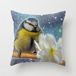 Baby Bird with White Flower Throw Pillow