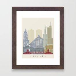 Chicago skyline poster Framed Art Print
