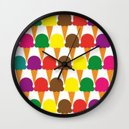 Crayon Colored Ice Cream Cone Snack and Sweet Treat on White Wall Clock
