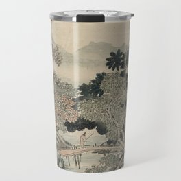 Vintage Japanese Landscape Painting Travel Mug