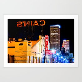 Cains Ballroom Music Hall and the Tulsa Skyline Art Print