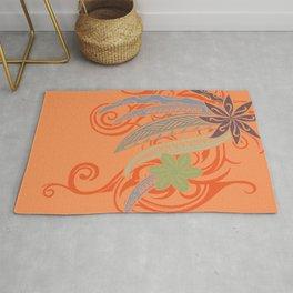 Sunset Orange Hawaiian Tribal Threads Rug