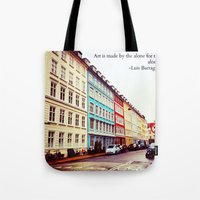 denmark Tote Bags featuring Copenhagen Denmark by ©valourine
