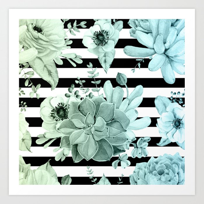 Succulents in the Garden Teal Blue Green Gradient with Black Stripes Kunstdrucke