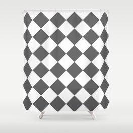 Large Diamonds - White and Dark Gray Shower Curtain