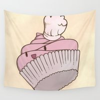 chef Wall Tapestries featuring The Cupcake Chef by Brunky