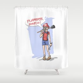 Hipster Mario Shower Curtain