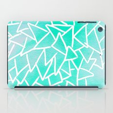 Blue turquoise watercolor geometric triangles iPad Case