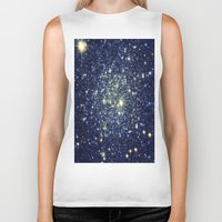 galaxy Biker Tanks featuring galaxY Stars : Midnight Blue & Gold by 2sweet4words Designs