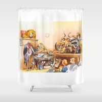 vegetarian Shower Curtains featuring vegetarian face by Rose Rigden