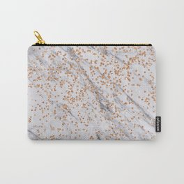 Rose gold diamond confetti on marble Carry-All Pouch