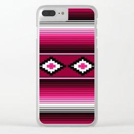 Modern Mexican Serape in Magenta Clear iPhone Case