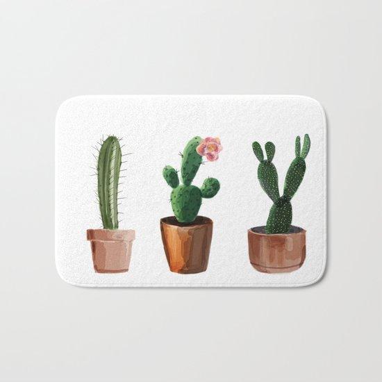 Three Cacti On White Background Bath Mat