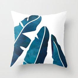 Indigo Banana Leaves Throw Pillow