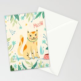 Meow cat - yellow and green Stationery Cards