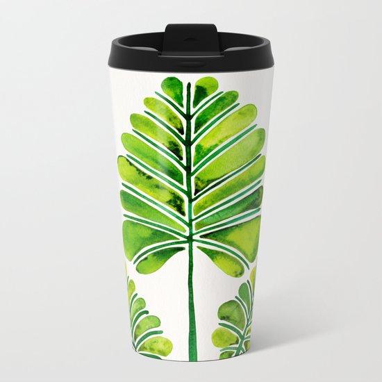Tropical Palm Leaf Trifecta – Green Palette Metal Travel Mug
