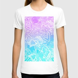 Modern purple turquoise mermaid watercolor floral white boho hand drawn pattern T-shirt