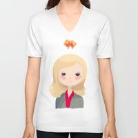 leslie knope V-neck T-shirts featuring Vote Knope by Nan Lawson