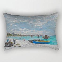 Claude Monet - The Beach at Sainte-Adresse Impressionist Landscape Oil Painting Rectangular Pillow