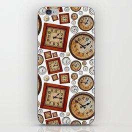 Old wall clocks background iPhone Skin