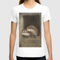 otters T-shirts featuring The curious otters by Pauline Fowler ( Polly470 )