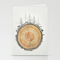 tree rings Stationery Cards featuring Tree Rings by dreamshade