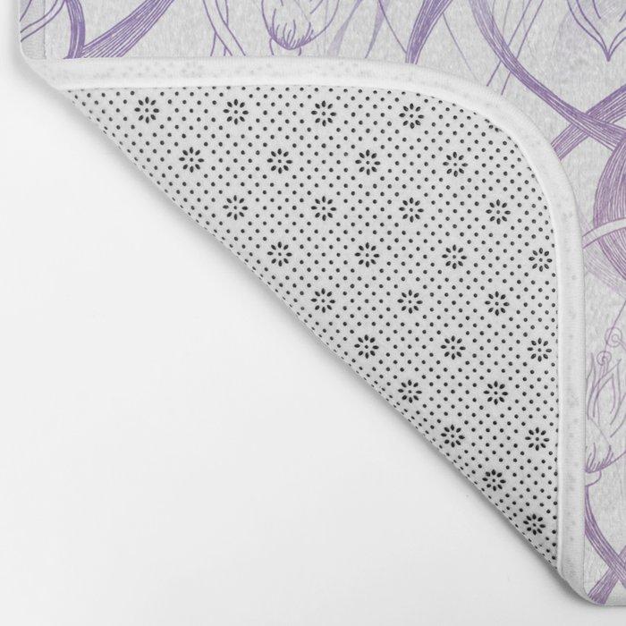 Floral Pattern - Purple Bath Mat