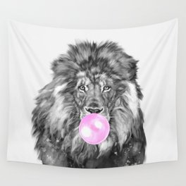 Bubble Gum Lion Black and White Wall Tapestry