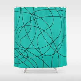 Lines Turquoise Shower Curtain