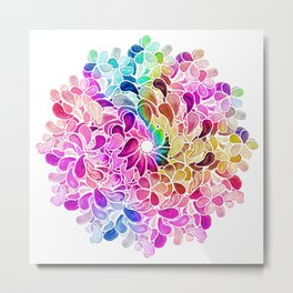 Rainbow Watercolor Paisley Floral Metal Print