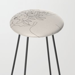 Woman with Flowers Minimal Line I Counter Stool