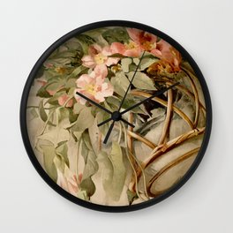 Wild Roses and Morning Glories, Date Unknown Wall Clock