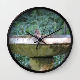 Bird in bath, Poulsbo Wall Clock