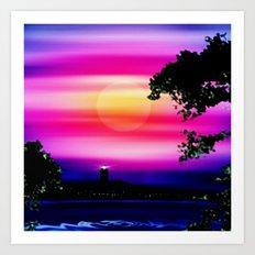 Evening sun on the coast. Art Print