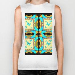 Southwestern Turquoise Butterflies Gold Black Patterns Art Biker Tank