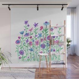 Cheerful spring flowers watercolor Wall Mural