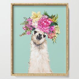 Flower Crown Llama in Green Serving Tray