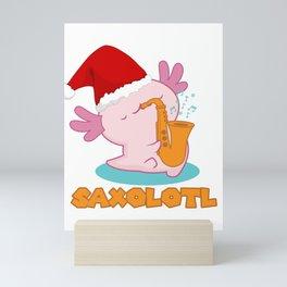 Saxolotl I Funny Axolotl Christmas Saxophone Music Gift design Mini Art Print