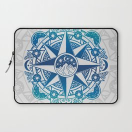 Journey to Moon Mountain   Turquoise Navy Ombré Laptop Sleeve