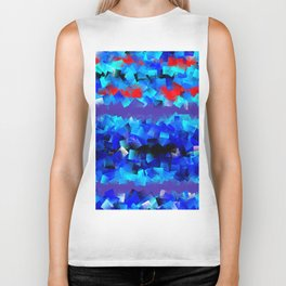 Blue lights and red birds Biker Tank