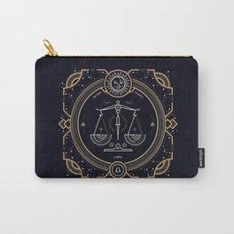 Libra Zodiac Golden White on Black Background Carry-All Pouch