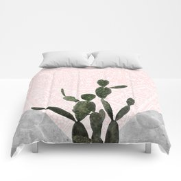 Cactus on Concrete and Pink Persian Mosaic Mandala Wall Comforters