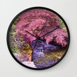 Japanese Garden waterfall Wall Clock