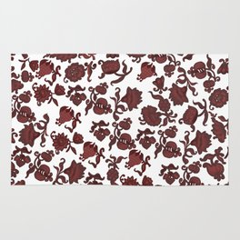 red flowers and foliage . Art Rug
