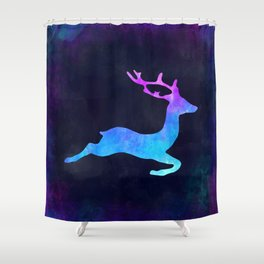 DEER LEAPING IN SPACE // Animal Graphic Art // Watercolor Canvas Painting // Modern Minimal Cute Shower Curtain