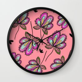 Colorful Floating Blooms Wall Clock