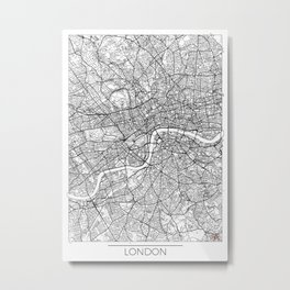 London Map White Metal Print
