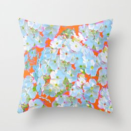 CUMIN ORANGE COLOR & WHITE LACE FLORAL GARDEN Throw Pillow