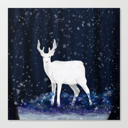 White deer in the snowy forest Canvas Print